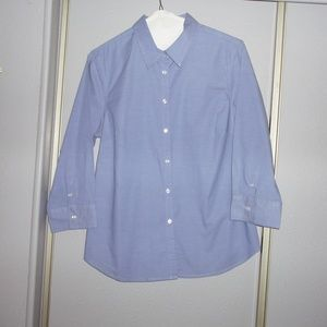 Izod Button Down Shirt 3/4 Sleeve Size Medium